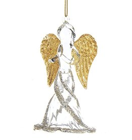 Kurt Adler Glass Angel w Gold Wings Christmas Ornament Praying