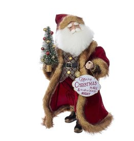 Kurt Adler Vintage Christmas Santa w Tree Merry Sign Table Piece 16 inch