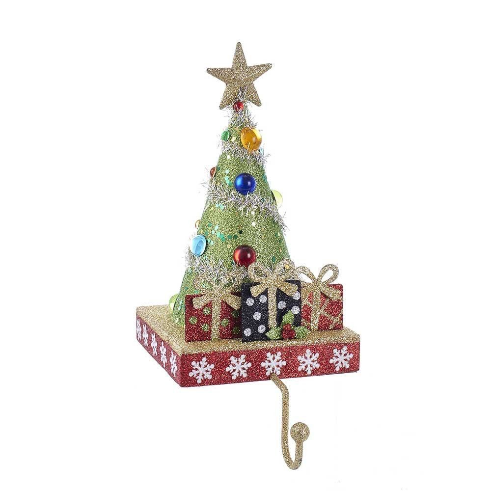 kurt adler christmas tree stocking holder tree w gifts and gold hanger - Kurt Adler Christmas