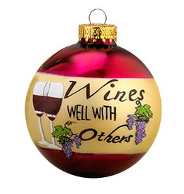 Kurt Adler Wines Well With Others Glass Christmas Ball Ornament 80MM