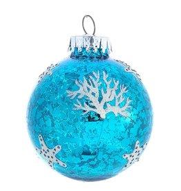 Kurt Adler Blue n White Sea Design Glass Ball Ornaments 60mm Set of 4