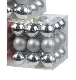 Kurt Adler Christmas Ornaments Mini Glass Balls 25MM Set of 27 Silver