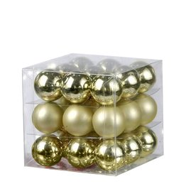 Kurt Adler Christmas Ornaments Mini Glass Balls 25MM Set of 27 Gold