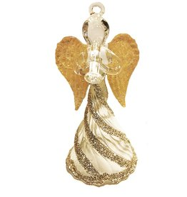 Kurt Adler Glass Angel w Gold Wings Christmas Ornament Trumpet