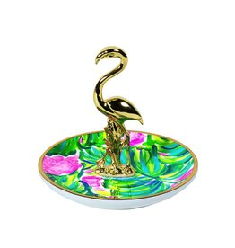 Lilly Pulitzer® Ring Holder Dish Flamingo Painted Palm Lilly Pulitzer
