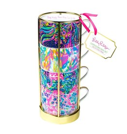 Lilly Pulitzer® Cappuccino Coffee Mugs Set of 4 w Holder