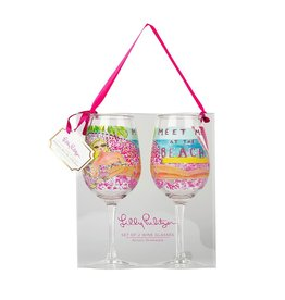 Lilly Pulitzer® Acrylic Wine Glasses Gift Set Meet Me At the Beach