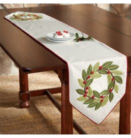 Mud Pie Christmas Table Runner with Bayberry Wreaths 70 inch