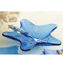 Mud Pie Blue Glass Dip Bowl Set w Fork- Starfish
