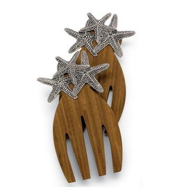 Mud Pie Wood Salad Hands Paddles w Metal Icon- Starfish