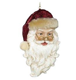 Kurt Adler Santa Face w Burgundy Red Hat Ornament 5 inch