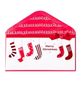 Papyrus Greetings Christmas Card Hanging Stockings Money Enclosure