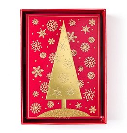 Papyrus Greetings Boxed Christmas Cards Aria Gold Tree On Red 12pk