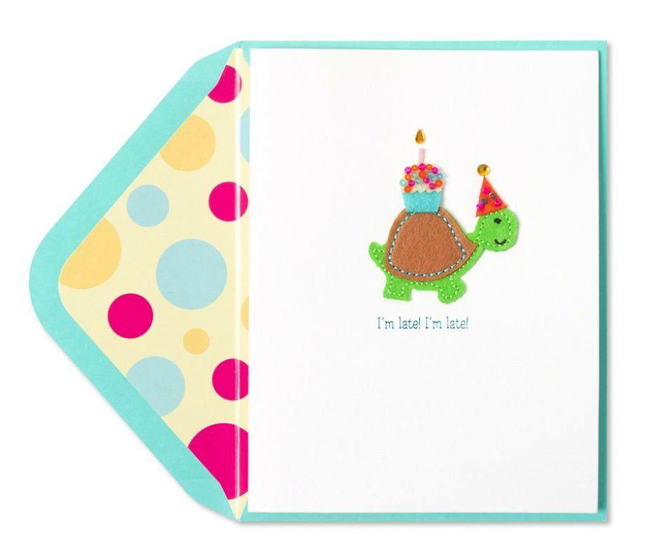 Papyrus Greetings Belated Birthday Card Handmade Late Turtle W