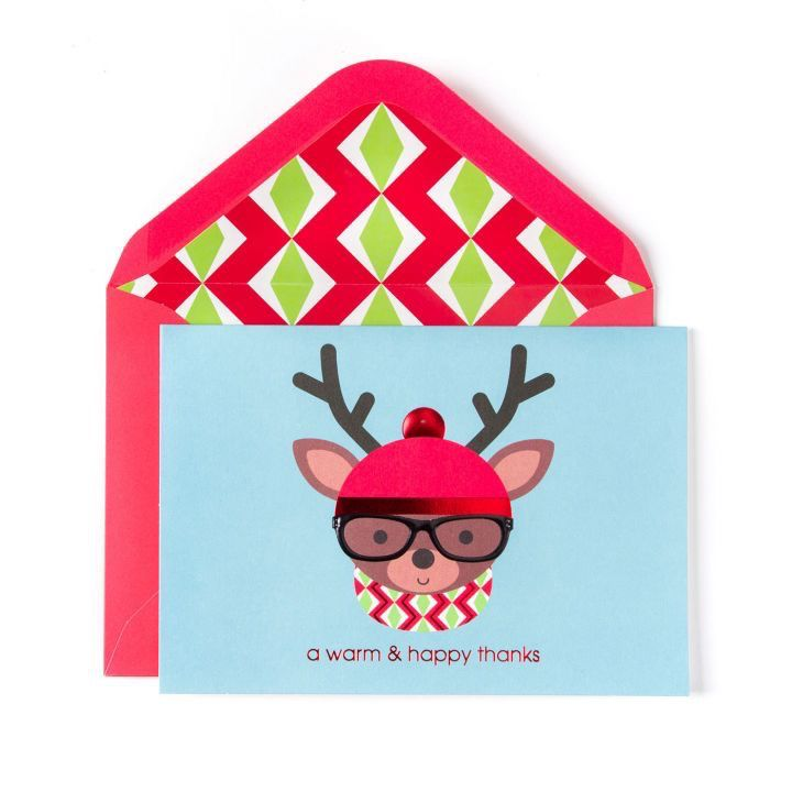 Papyrus Greetings Boxed Christmas Cards Hipster Deer w Hat Glasses ...