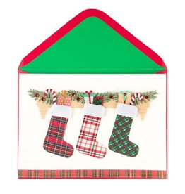 Papyrus Greetings Christmas Card Plaid Stockings
