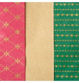 Papyrus Christmas Tissue Paper 9 Sheets Red Gold Green Trio