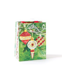 Papyrus Christmas Gift Bag Medium 7x9x4 Three Pattern Ornaments