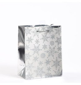 Papyrus Christmas Gift Bag Medium 7x9x4 Luxe Silver Snowflakes