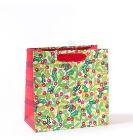 Papyrus Christmas Gift Bag Medium 8.5x8.5x4.5 Eco Overlap Holly
