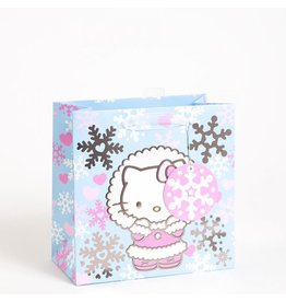 Papyrus Christmas Gift Bag Medium 8.5x8.5x4.5 Hello Kitty Snowflakes