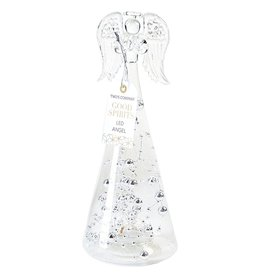 Twos Company Christmas LED Angel Figurine Silver Tinsel Glass