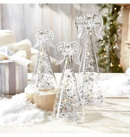 Twos Company Christmas LED Angel Figurine Silver Tinsel Glass Set of 3