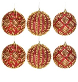 Mark Roberts Christmas Decorations Red Gold Harlequin Ball Ornaments
