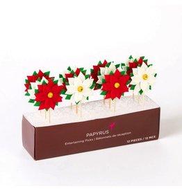 Papyrus Papyrus Christmas Party Picks 12pk - Poinsettia's