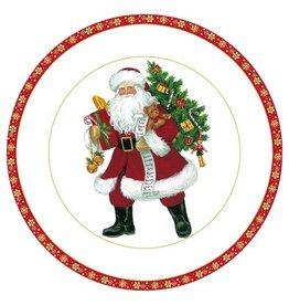 Caspari Christmas Paper Salad-Dessert Plates 8pk 12750SP Lynn Haney Santa
