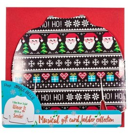 DM Merchandising Ugly Sweater Musical Christmas Card Gift Card Holder- Smile
