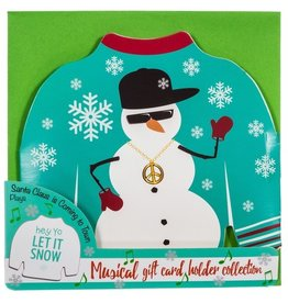 DM Merchandising Ugly Sweater Musical Christmas Card Gift Card Holder- Snowman
