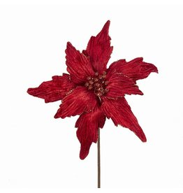 Kurt Adler Red Poinsettia Pick 20 inch Christmas Flowers Floral