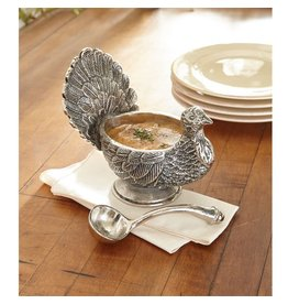 Mud Pie Metal Turkey Gravy Boat w Ladel Set