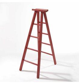 Kurt Adler Christmas Display Ladder 18 inch Wooden Red Hinged Ladder