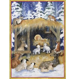 Caspari Boxed Christmas Cards 16pk Woodland Creche