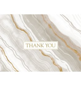 Caspari Thank You Note Cards Boxed Set of 8 Marble Grey