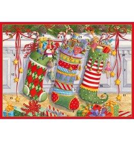 Caspari Christmas Advent Calendar Card Stockings on the Mantel