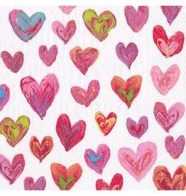Caspari Paper Coctail Beverage Napkins 20pk Happy Hearts