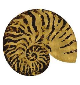 Caspari Placemats Hard Die Cut Set of 4 Shell Gold Brown 3035PM