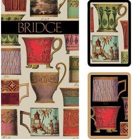 Caspari Bridge Gift Set-2 Card Decks 2 Score Pad Salon De The-Tea Cups