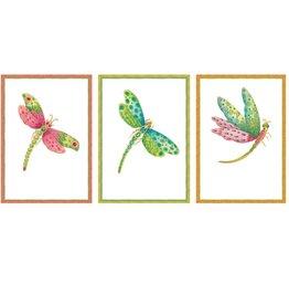 Caspari Blank Note Cards 8pk Assorted Dragonflies