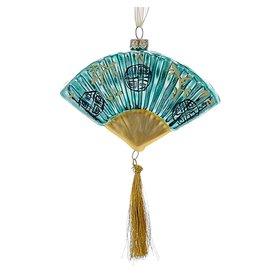 Kurt Adler Christmas Ornament Oriental Asian Glass Fan BLUE