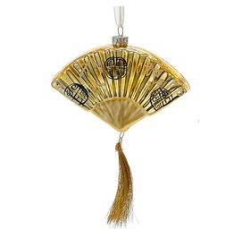 Kurt Adler Christmas Ornament Oriental Asian Glass Fan GOLD