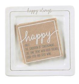Mud Pie Happy Always Ceramic Cheese Plate Set w Happy Napkins
