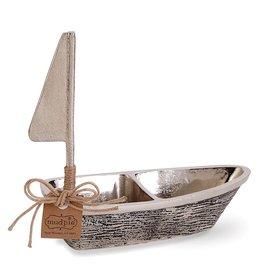 Mud Pie Metal Wood Sailboat Double Dip Set