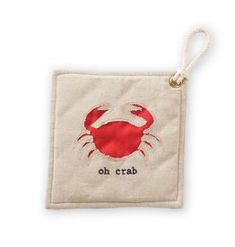 Mud Pie Nautical Sea Cotton Chambray Pot Holder - Crab w Oh Crab