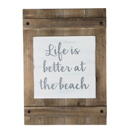 Mud Pie Wood Planked Wall Plaque w Life is Better at the Beach