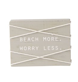 Mud Pie Sea Rope Block Wood Plaque w Beach More Worry Less