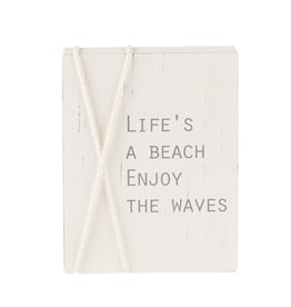 Mud Pie Sea Rope Block Plaque w Lifes a Beach Enjoy the Waves